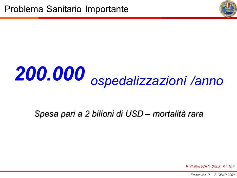 200.000 ospedalizzazioni /anno