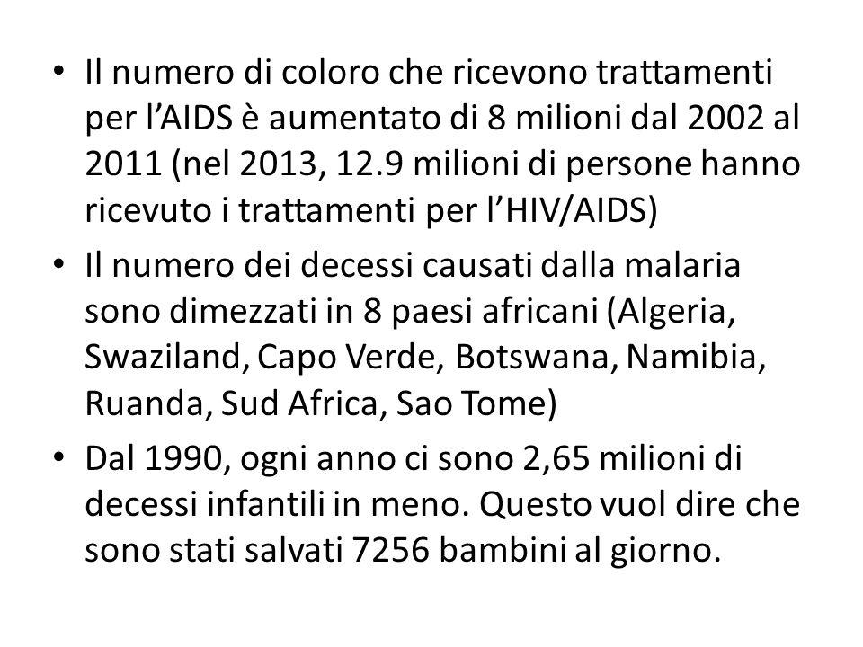 Il numero di coloro che ricevono trattamenti per l'AIDS è aumentato di 8 milioni dal 2002 al 2011 (nel 2013, 12.9 milioni di persone hanno ricevuto i trattamenti per l'HIV/AIDS)