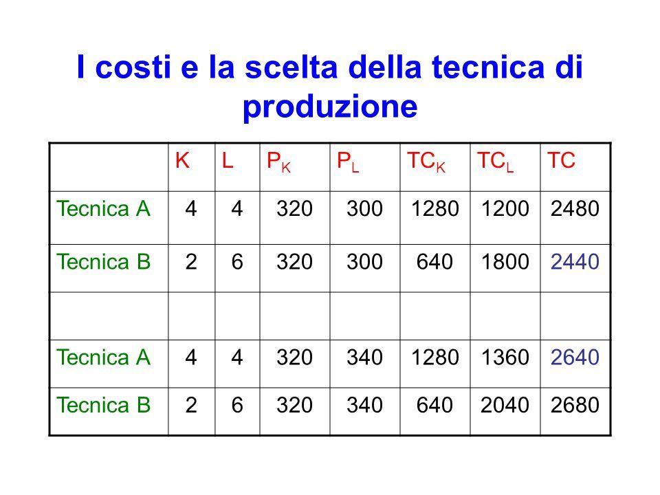 I costi e la scelta della tecnica di produzione