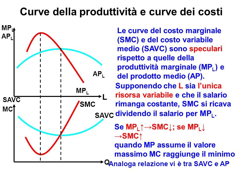 Curve della produttività e curve dei costi
