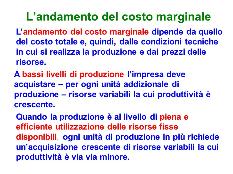 L'andamento del costo marginale