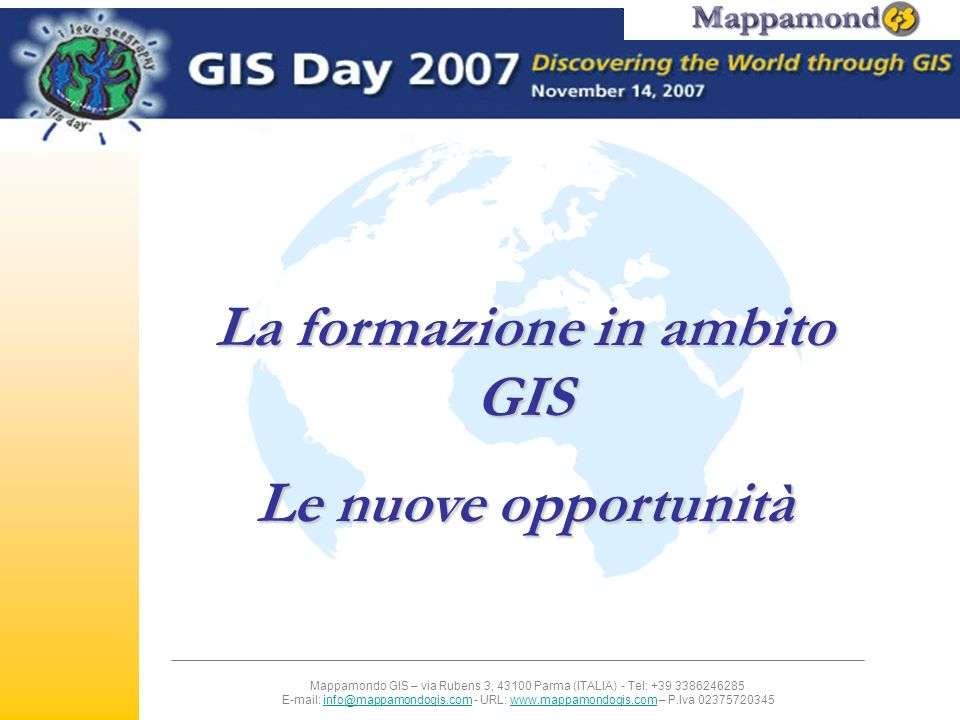 La formazione in ambito GIS