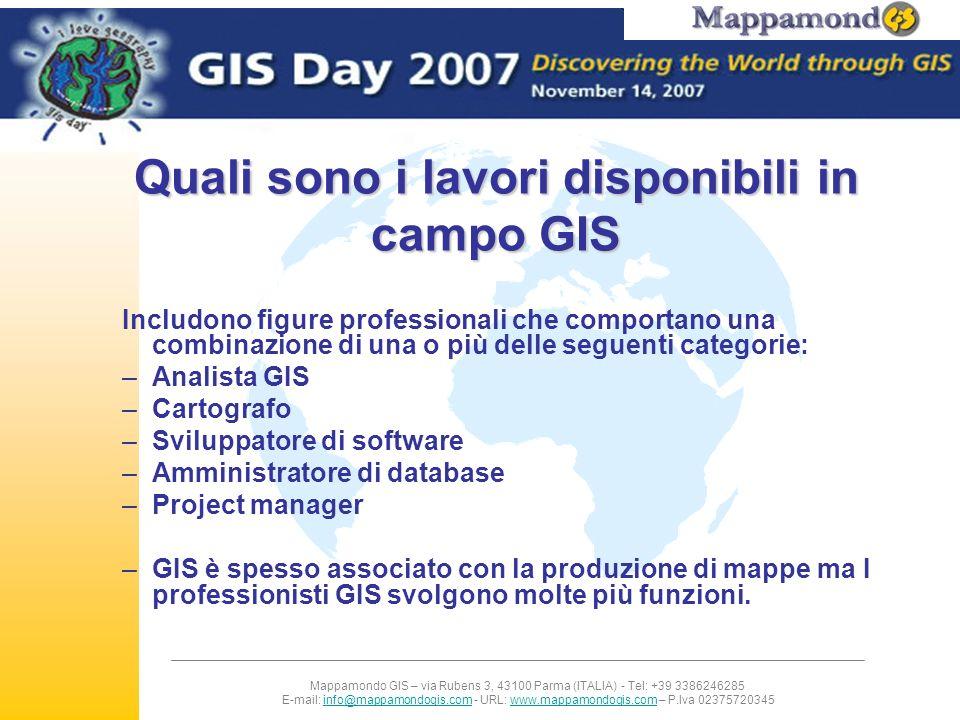 Quali sono i lavori disponibili in campo GIS