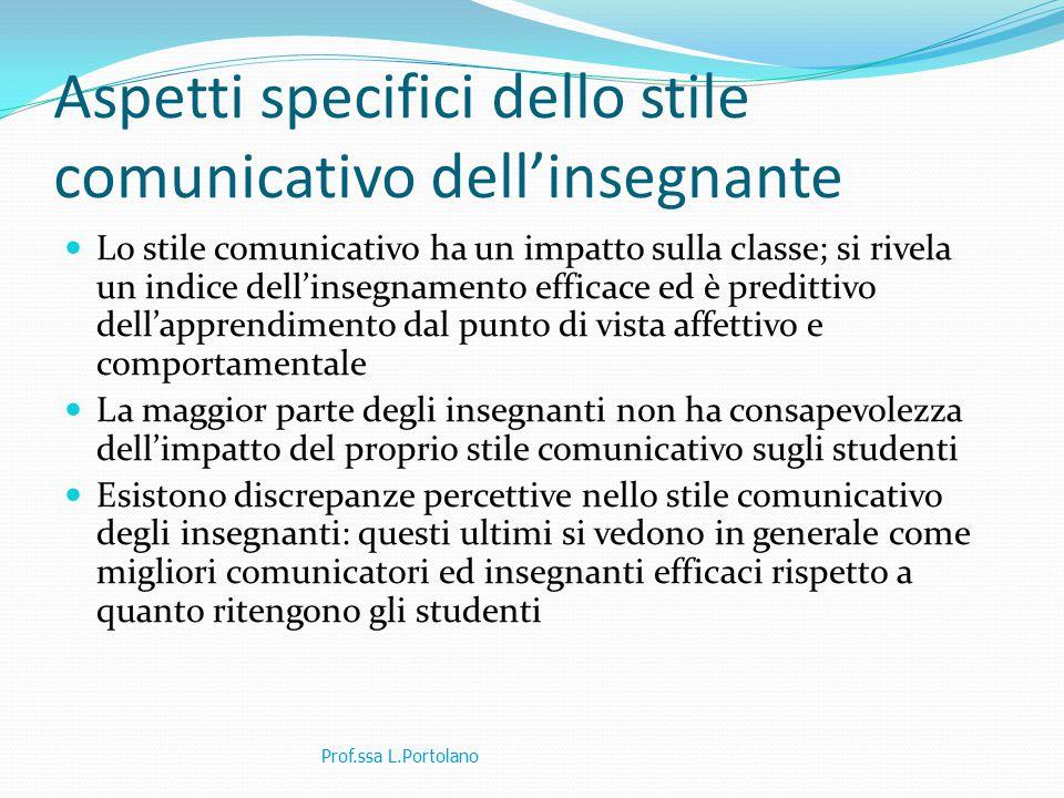 Aspetti specifici dello stile comunicativo dell'insegnante