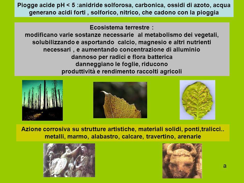 Piogge acide pH < 5 :anidride solforosa, carbonica, ossidi di azoto, acqua generano acidi forti , solforico, nitrico, che cadono con la pioggia