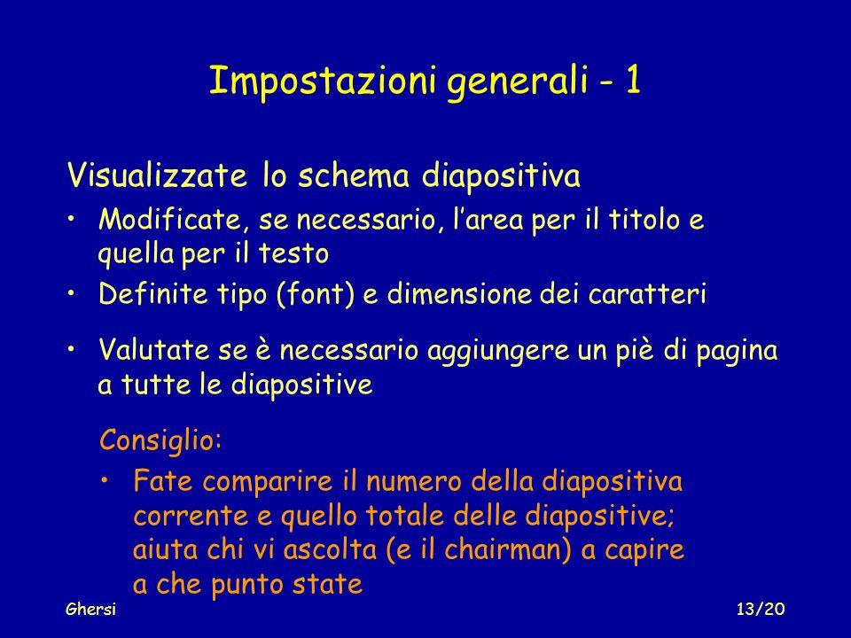 Impostazioni generali - 1