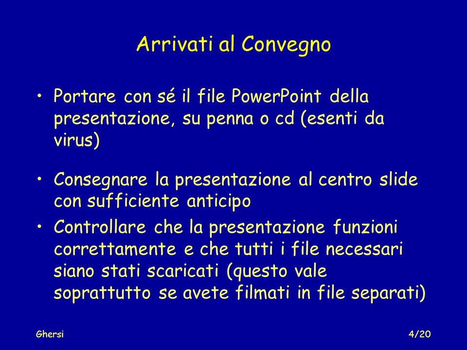 Arrivati al Convegno Portare con sé il file PowerPoint della presentazione, su penna o cd (esenti da virus)