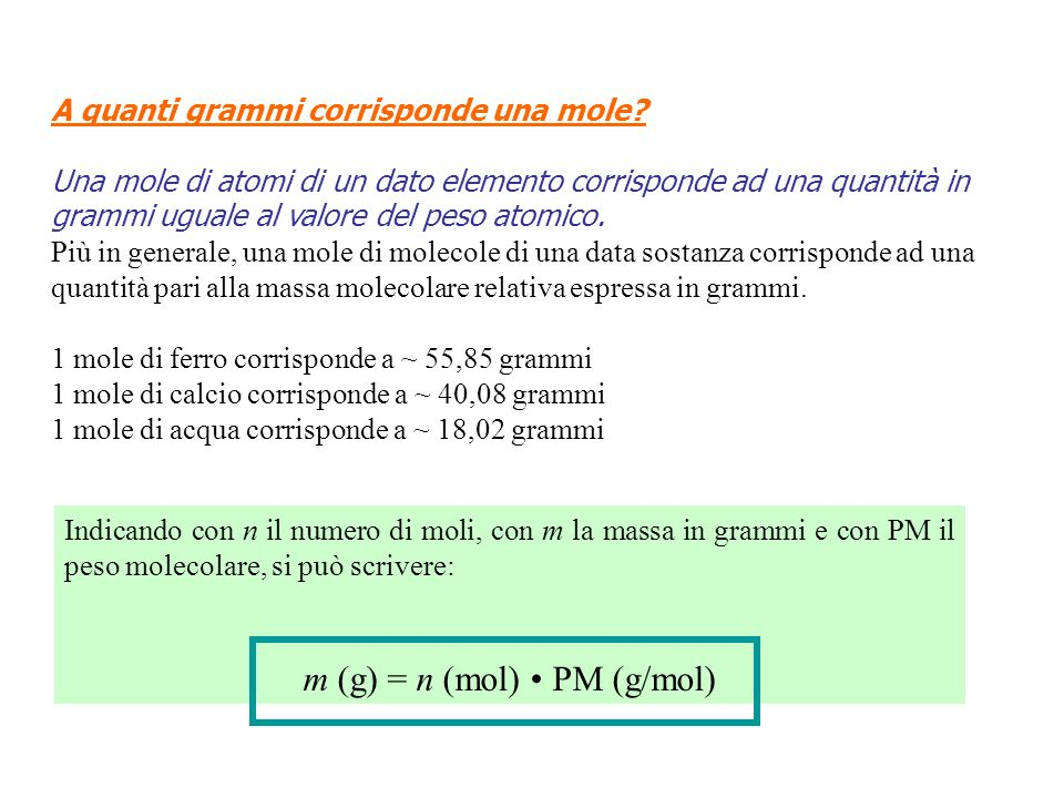 m (g) = n (mol) • PM (g/mol)