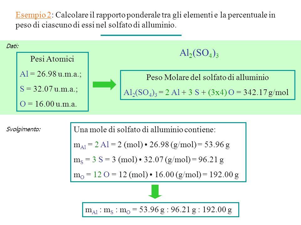 Peso Molare del solfato di alluminio