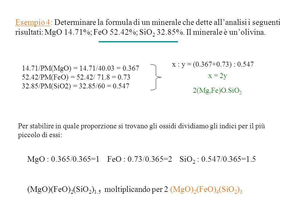 (MgO)(FeO)2(SiO2)1.5 moltiplicando per 2 (MgO)2(FeO)4(SiO2)3