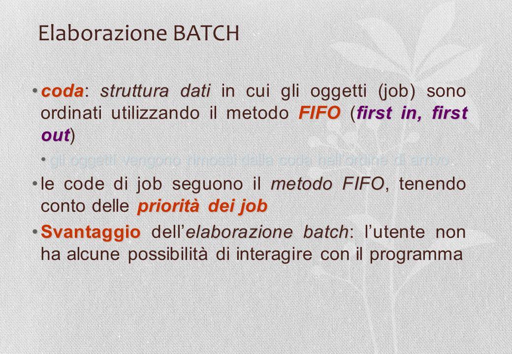Elaborazione BATCH coda: struttura dati in cui gli oggetti (job) sono ordinati utilizzando il metodo FIFO (first in, first out)