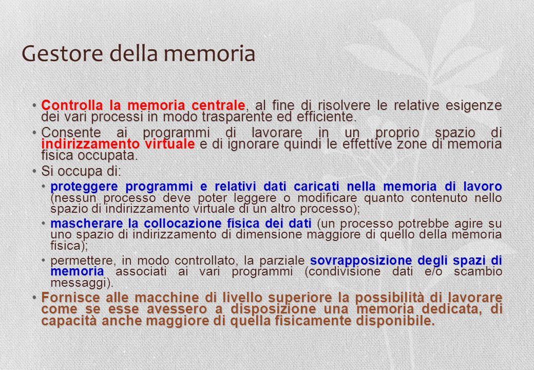 Gestore della memoria Controlla la memoria centrale, al fine di risolvere le relative esigenze dei vari processi in modo trasparente ed efficiente.