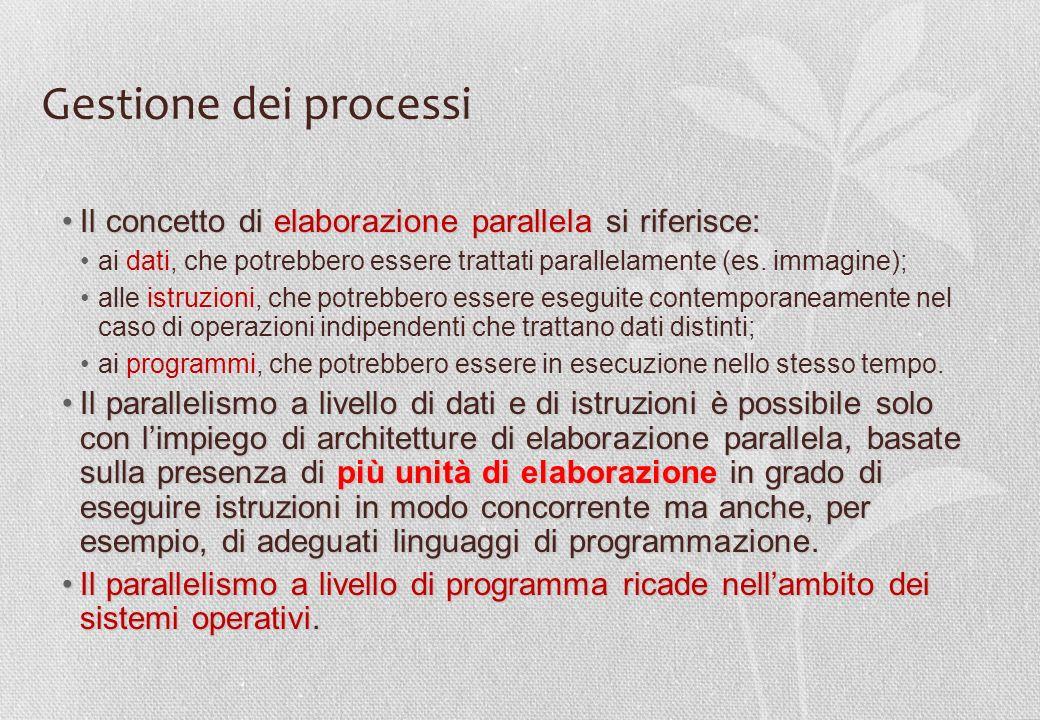 Gestione dei processi Il concetto di elaborazione parallela si riferisce: ai dati, che potrebbero essere trattati parallelamente (es. immagine);