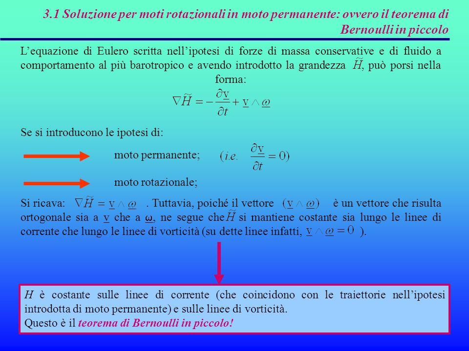 3.1 Soluzione per moti rotazionali in moto permanente: ovvero il teorema di Bernoulli in piccolo