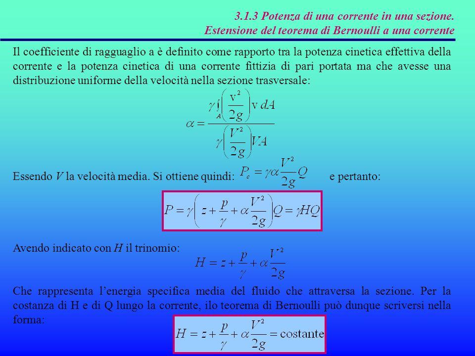 3.1.3 Potenza di una corrente in una sezione.