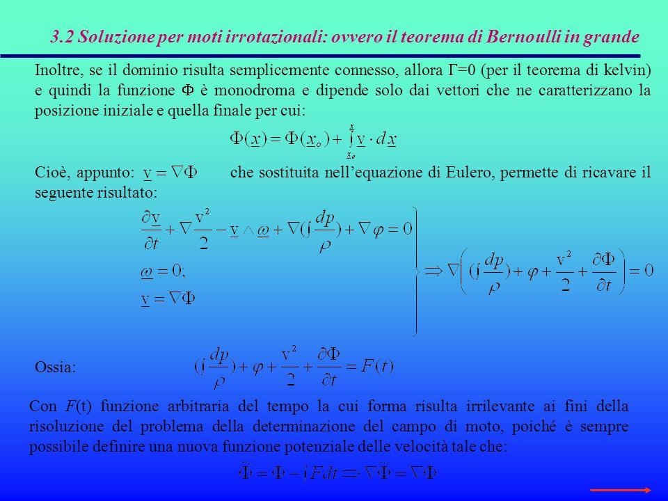3.2 Soluzione per moti irrotazionali: ovvero il teorema di Bernoulli in grande