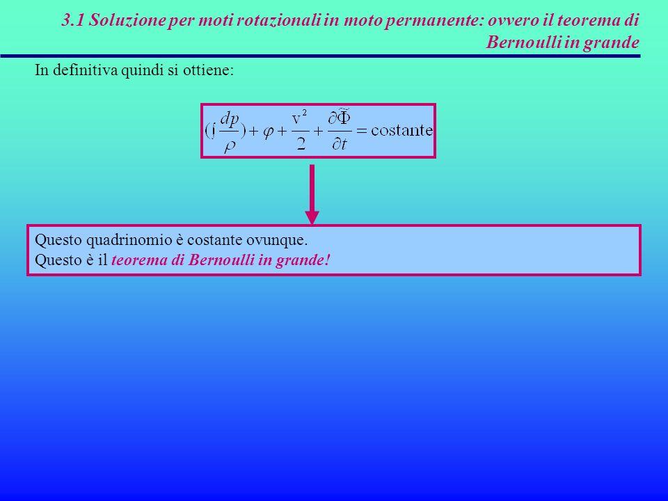 3.1 Soluzione per moti rotazionali in moto permanente: ovvero il teorema di Bernoulli in grande