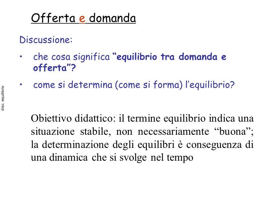 Offerta e domanda Discussione: che cosa significa equilibrio tra domanda e offerta come si determina (come si forma) l'equilibrio