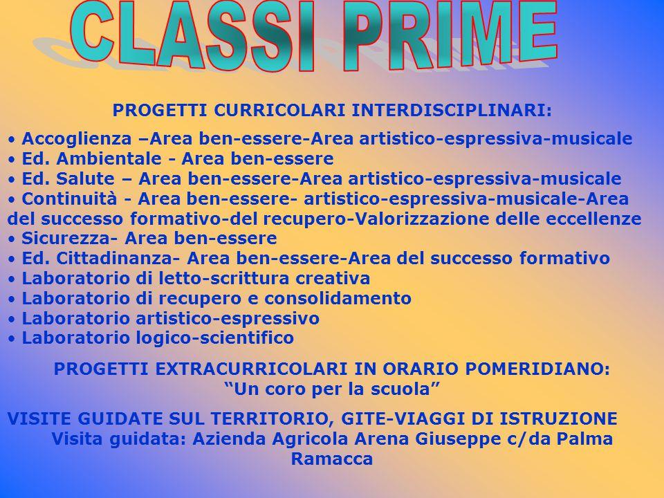 CLASSI PRIME PROGETTI CURRICOLARI INTERDISCIPLINARI: