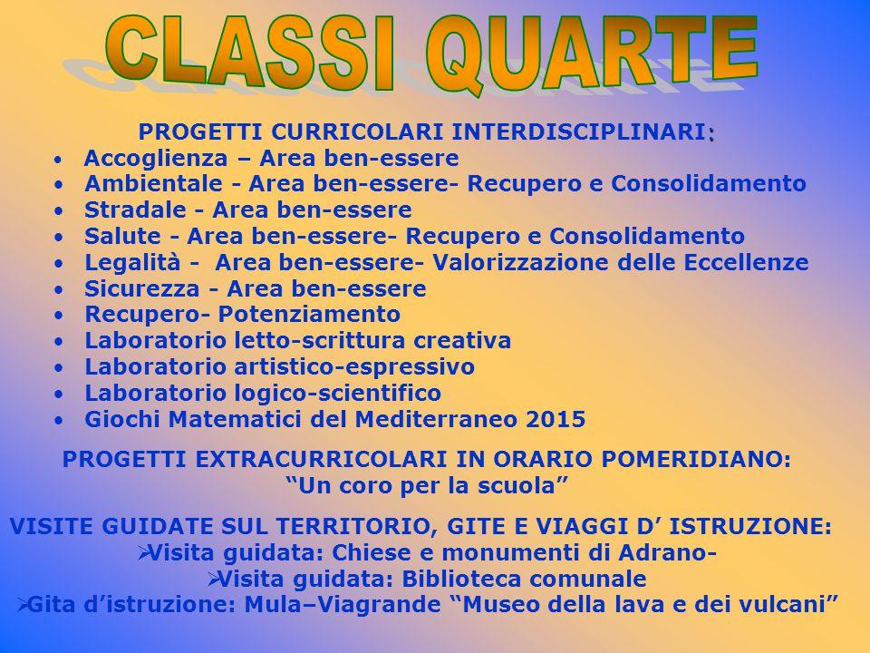 CLASSI QUARTE PROGETTI CURRICOLARI INTERDISCIPLINARI: