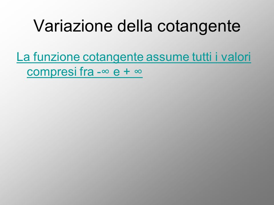 Variazione della cotangente