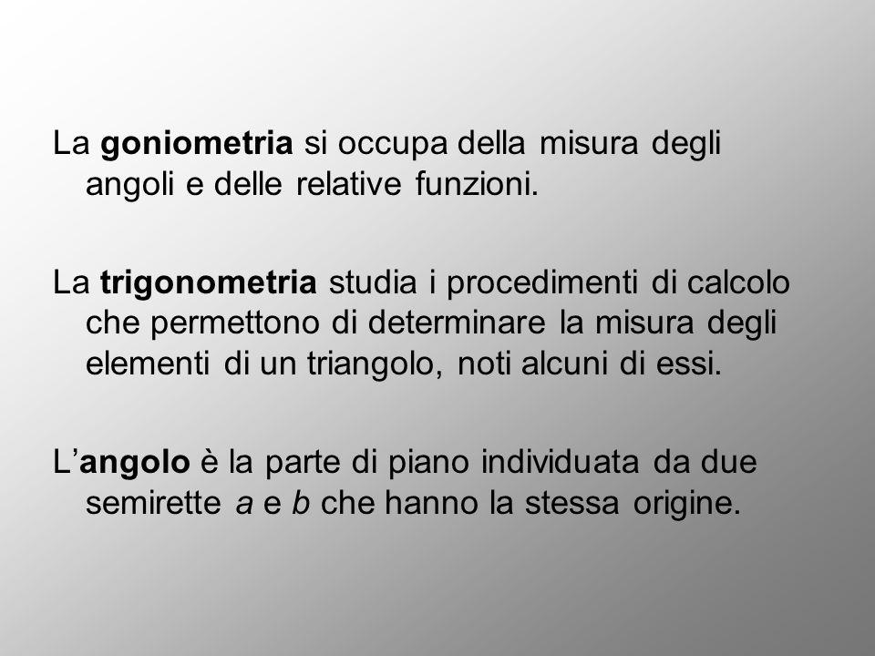 La goniometria si occupa della misura degli angoli e delle relative funzioni.