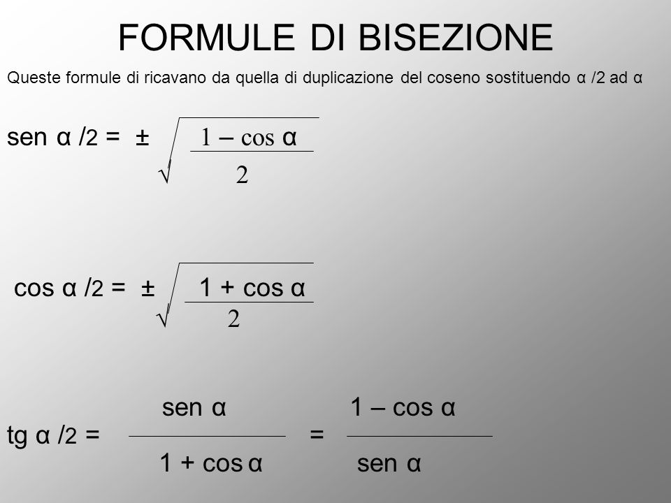 FORMULE DI BISEZIONE sen α /2 = ± 1 – cos α √ 2