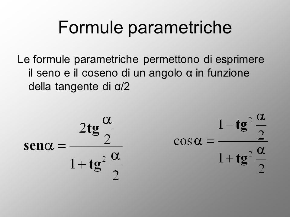 Formule parametriche Le formule parametriche permettono di esprimere il seno e il coseno di un angolo α in funzione della tangente di α/2.