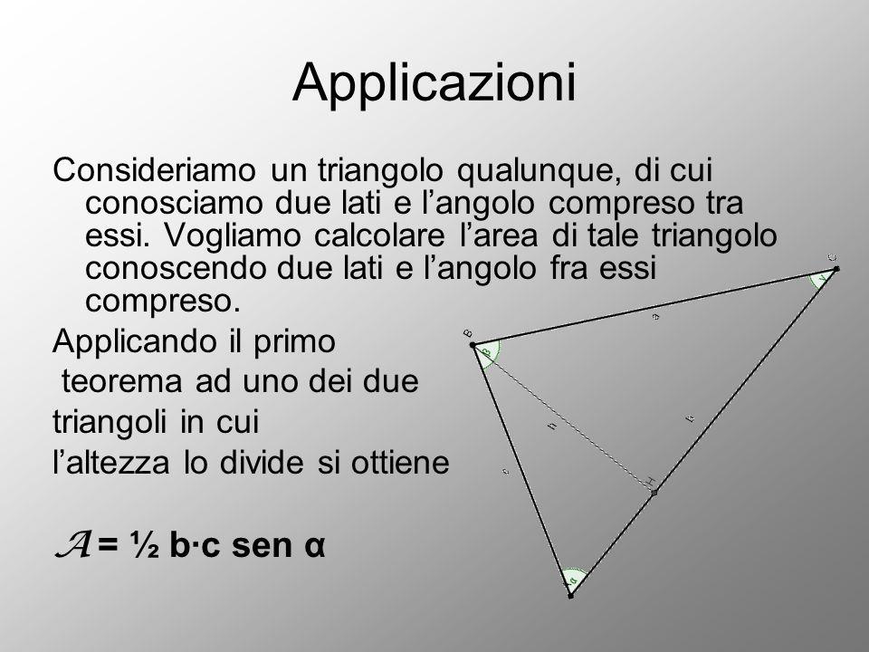 Applicazioni A = ½ b∙c sen α