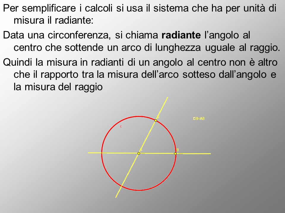 Per semplificare i calcoli si usa il sistema che ha per unità di misura il radiante: