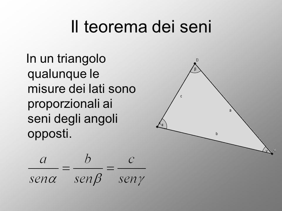 Il teorema dei seni In un triangolo qualunque le misure dei lati sono proporzionali ai seni degli angoli opposti.