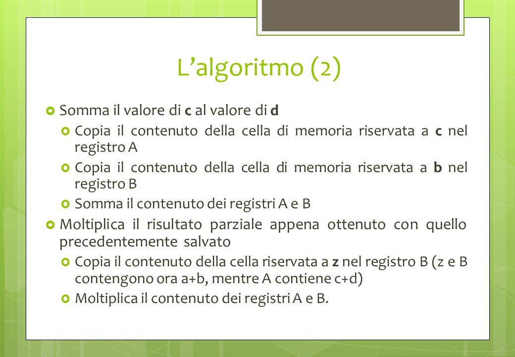 L'algoritmo (2) Somma il valore di c al valore di d