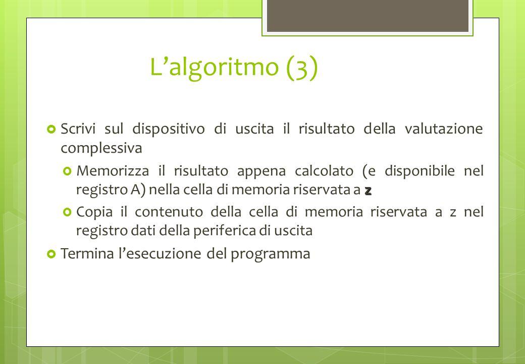 L'algoritmo (3)Scrivi sul dispositivo di uscita il risultato della valutazione complessiva.