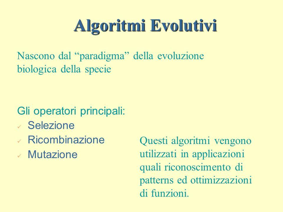 Algoritmi Evolutivi Nascono dal paradigma della evoluzione biologica della specie. Gli operatori principali: