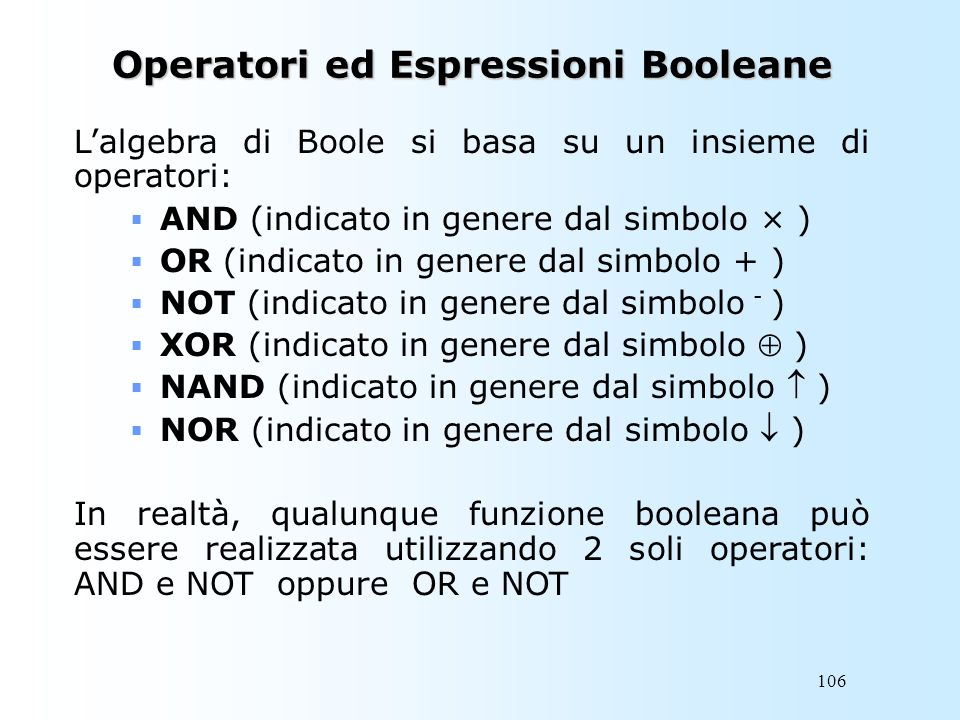 Operatori ed Espressioni Booleane
