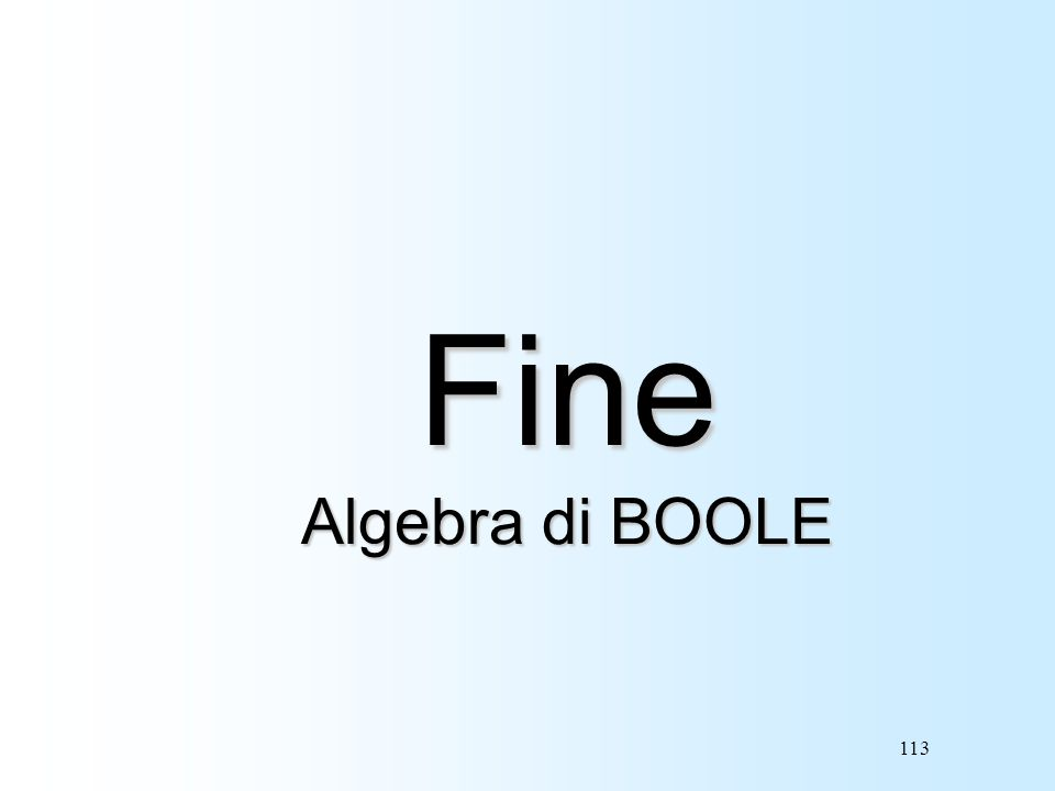 Fine Algebra di BOOLE