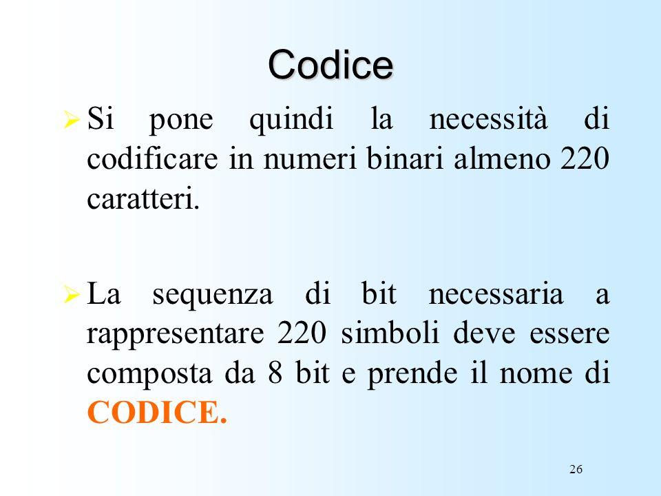 Codice Si pone quindi la necessità di codificare in numeri binari almeno 220 caratteri.