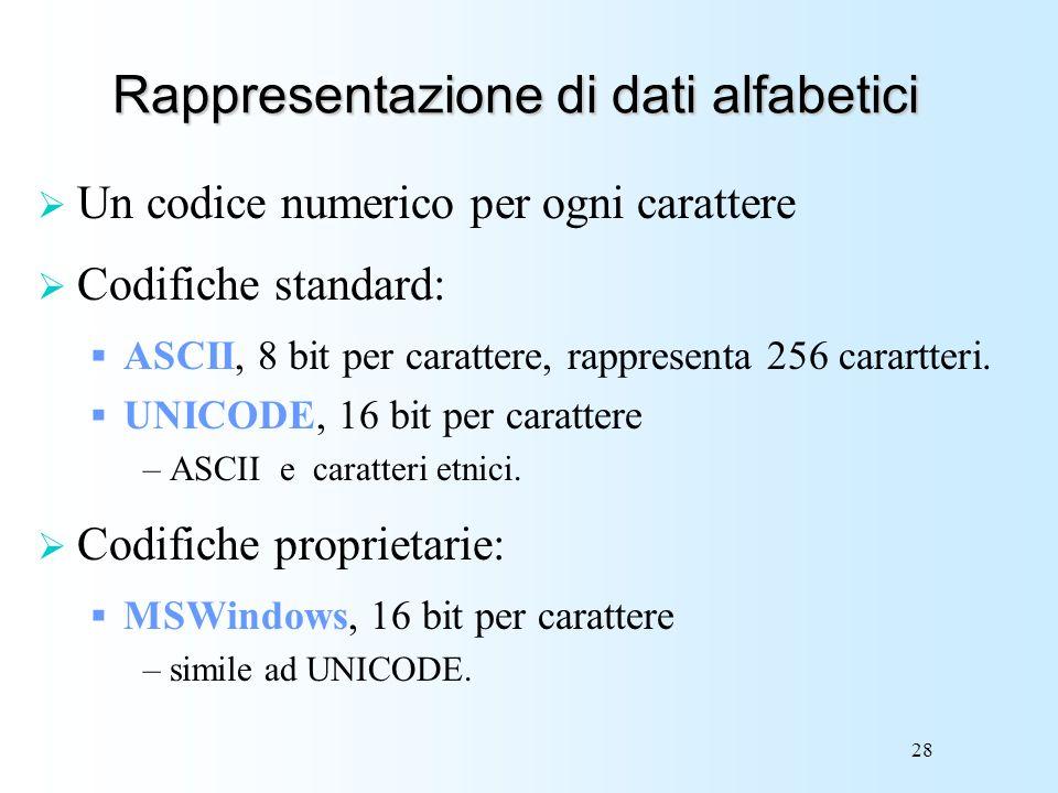 Rappresentazione di dati alfabetici
