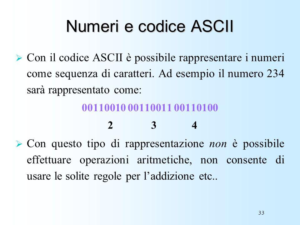 Numeri e codice ASCII