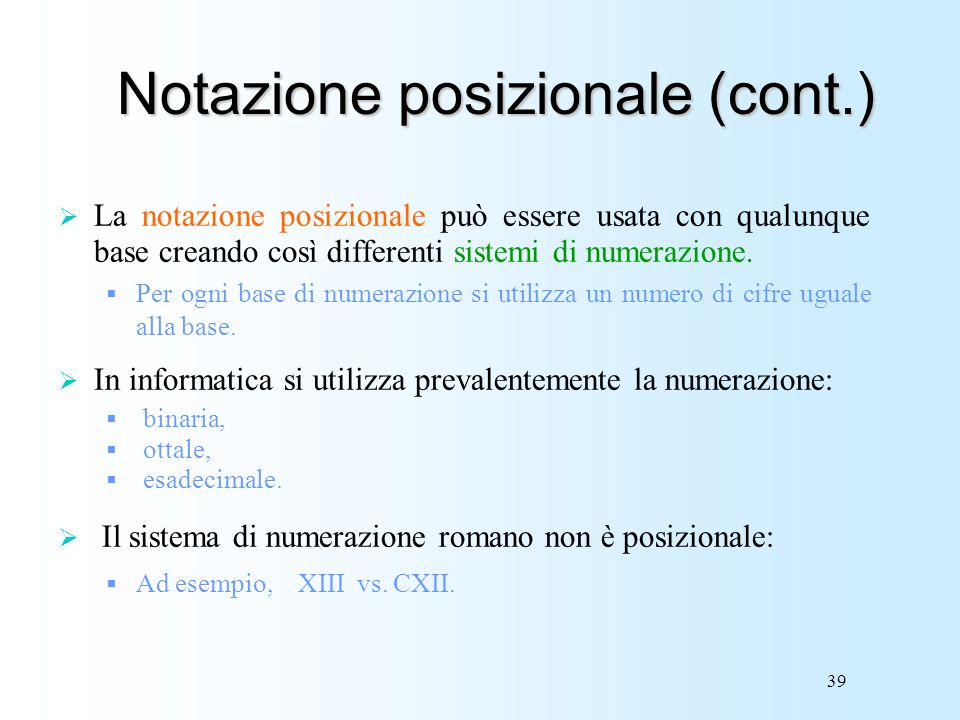 Notazione posizionale (cont.)
