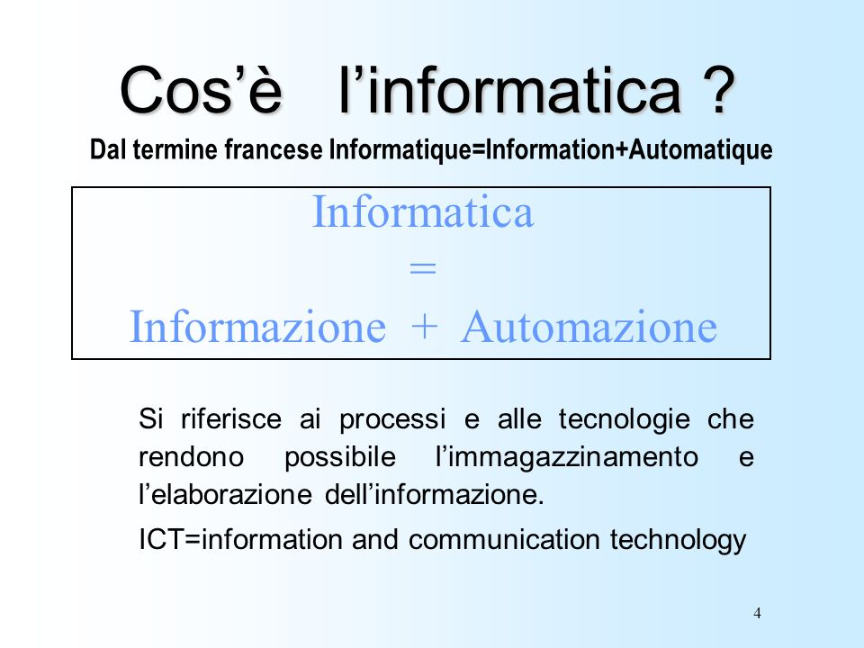 Dal termine francese Informatique=Information+Automatique