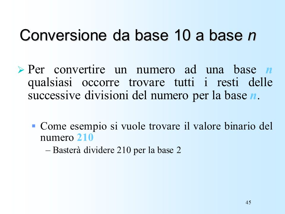 Conversione da base 10 a base n