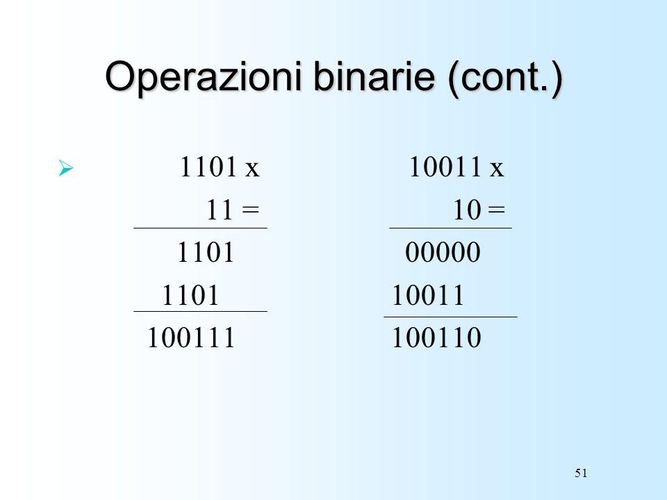 Operazioni binarie (cont.)
