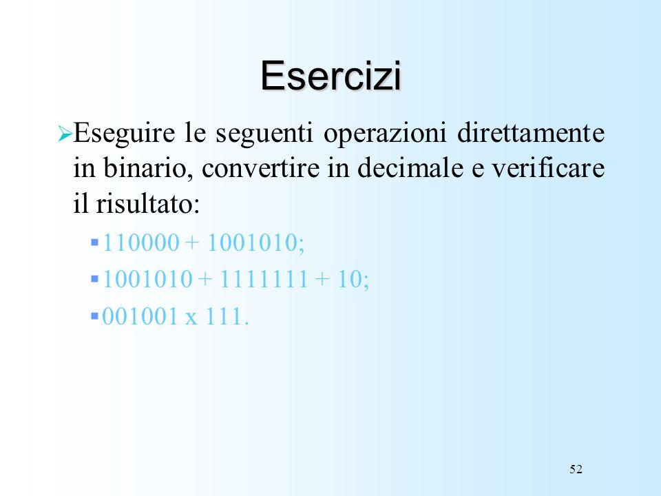 Esercizi Eseguire le seguenti operazioni direttamente in binario, convertire in decimale e verificare il risultato: