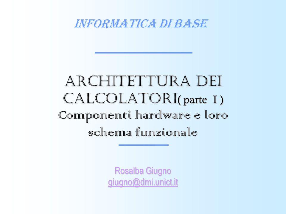 Architettura dei calcolatori( parte I ) Componenti hardware e loro schema funzionale