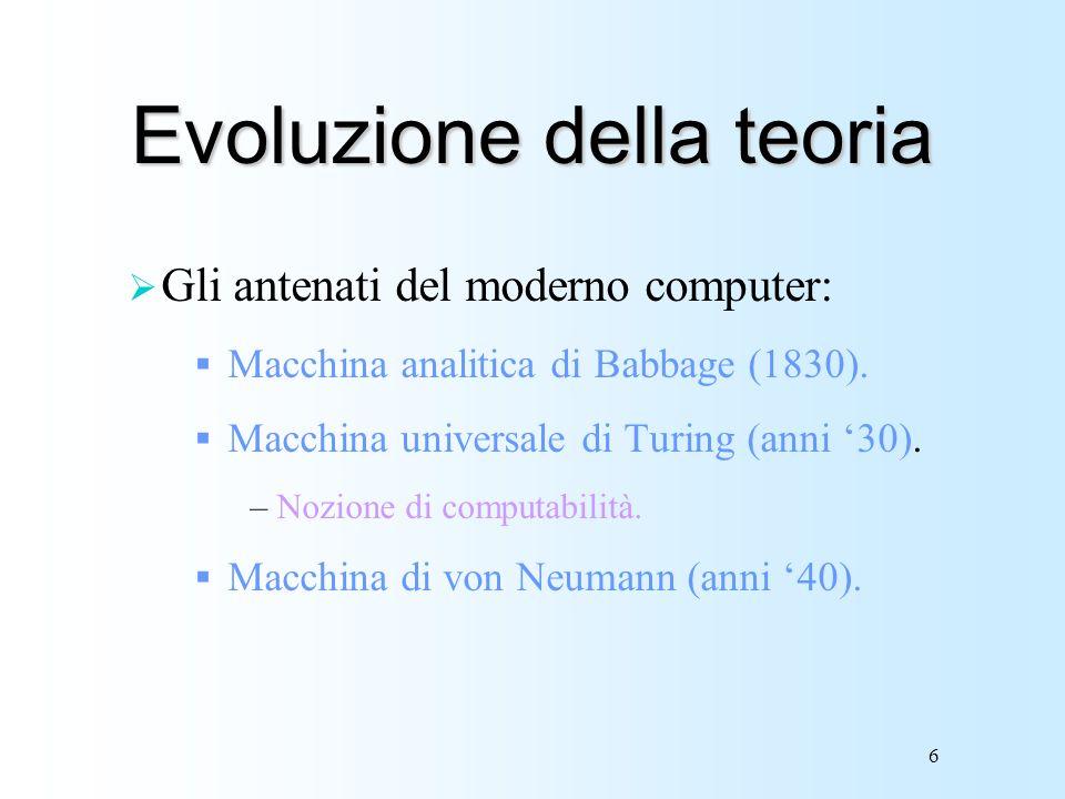 Evoluzione della teoria