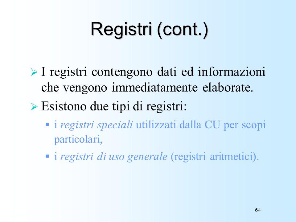 Registri (cont.) I registri contengono dati ed informazioni che vengono immediatamente elaborate. Esistono due tipi di registri: