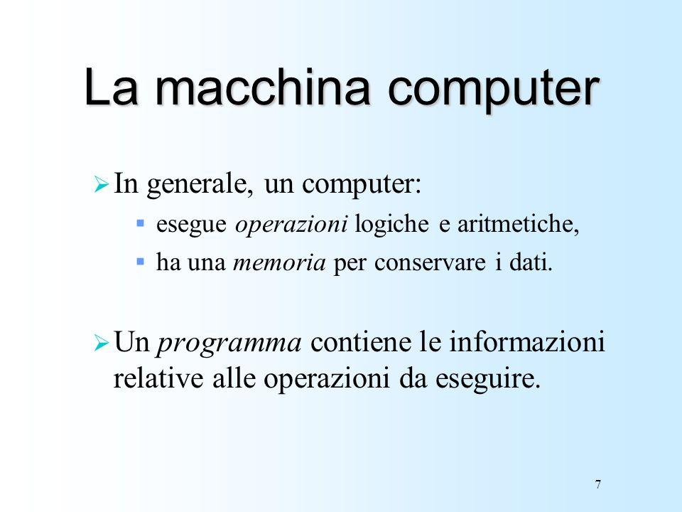 La macchina computer In generale, un computer:
