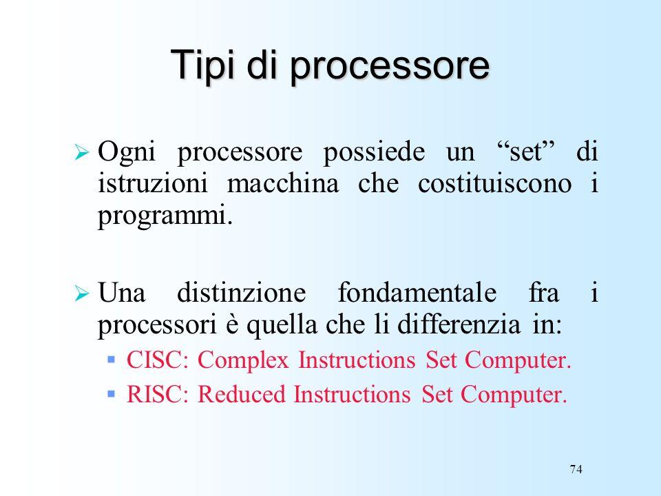 Tipi di processore Ogni processore possiede un set di istruzioni macchina che costituiscono i programmi.