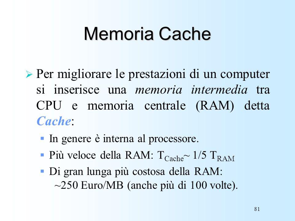 Memoria Cache Per migliorare le prestazioni di un computer si inserisce una memoria intermedia tra CPU e memoria centrale (RAM) detta Cache: